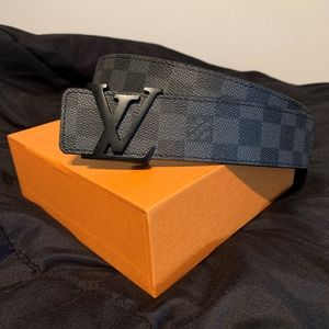 Mens LV Louis Vuitton Damier Black Belt Fits 30-34